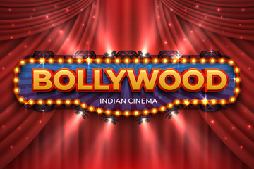 Indian cinema background. Bollywood film poster with red drapes, 3D realistic movie award stage. Blue vector Bollywood cinematography