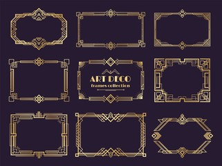 Art deco borders set. Golden 1920s frames, nouveau luxury geometric style, abstract vintage ornament. Vector art deco elements set