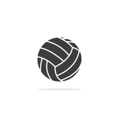 Monochrome vector illustration of a Volleyball ball, isolated on a white background.