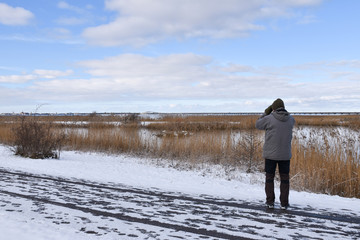 Birder in winter season