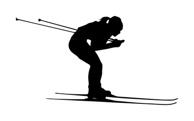 Silhouette of a girl on skis, simple drawing