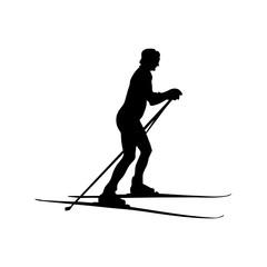 Силуэт девушки на лыжах, простой рисунок