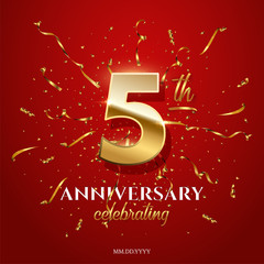 5 golden number and Anniversary Celebrating text with golden serpentine and confetti on red background. Vector fifth anniversary celebration event square template.