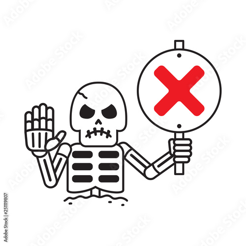 Cartoon vector skeleton with wrong sign for design