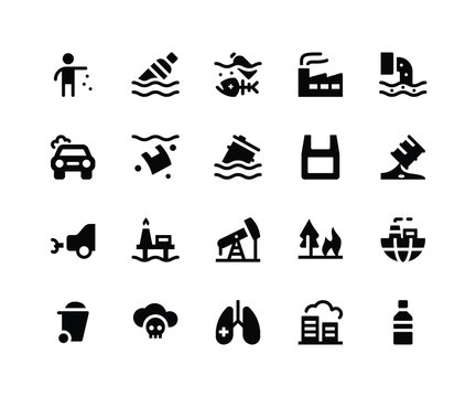 Simple Set of Pollution Related Vector Glyph Icons. Contains such Icons as litter, bottle, factory, drainage, garbage and More. pixel perfect vector icons based on 32px grid. Well Organized
