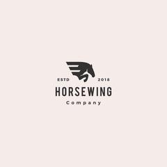 horse wing pegasus logo hipster retro vintage vector icon illustration