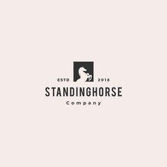 standing horse logo hipster retro vintage vector icon illustration square