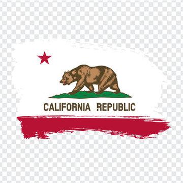 Flag of California from brush strokes. United States of America.  Flag California on transparent background for your web site design, logo, app, UI. Stock vector. Vector illustration EPS10.