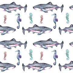 Sharks seamless pattern, seahorse. Hand drawn underwater sea fish nautical background.