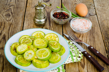 Zucchini vegetable appetizer on wood