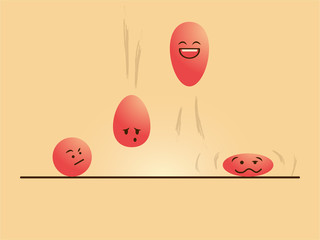 red color emotional cartoon balls jumping up and down -vector drawing