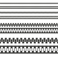 Monochrome vector illustration of a zipper lock seamless pattern, isolated on a white background.
