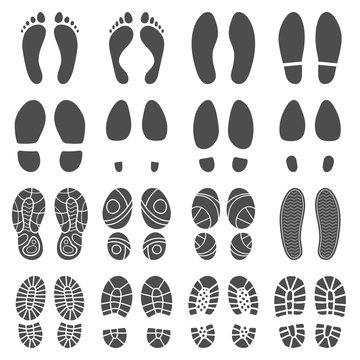 Footprints silhouettes. Barefoot steps prints, boots step and foot feet print isolated vector silhouette illustration