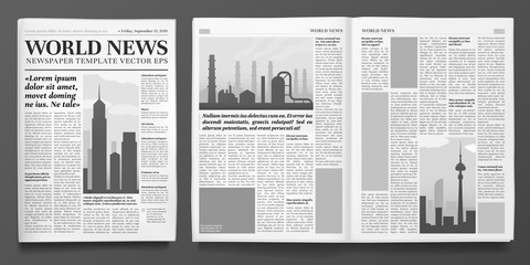 Business newspaper template. Financial news headline, newspapers pages and finance journal isolated vector illustration layout