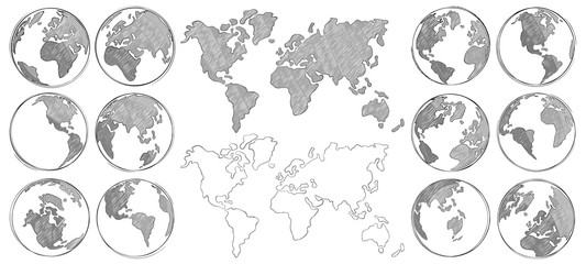 Sketch map. Hand drawn earth globe, drawing world maps and globes sketches isolated vector illustration