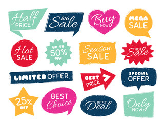 Grunge sale badge. Retro pricing sticker, grungy textured price tag and vintage best offer label badges isolated vector set