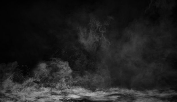 Smoke texture overlays on islotaed background. Misty fog background effect