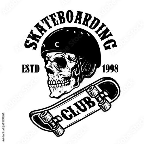 Skateboarding Club Emblem With Skull In Skateboard Helmet