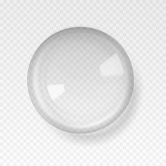 Transparent glass sphere with glares and highlights.