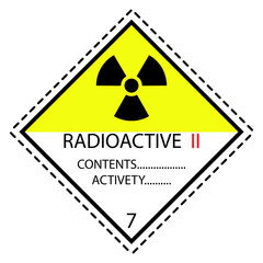 Radioactive II Materials Label for Transportation of Hazardous Materials - Class 7