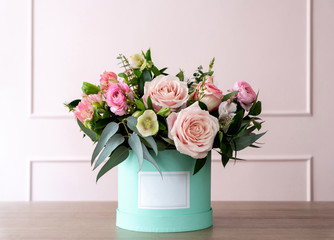 Beautiful bouquet of flowers in a box