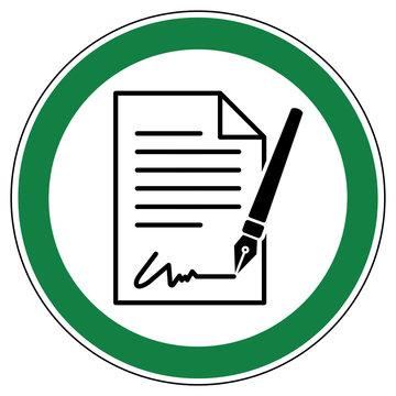 srg547 SignRoundGreen - german - ez546 ErlaubnisZeichen -  Vertrag unterschreiben erlaubt: Dokument - english - approved - signing a contract allowed (document) - green xxl g7253