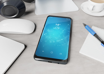 Modern smartphone laying on desktop mockup 3d rendering