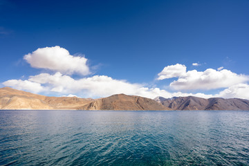 A view of Pangong Lake in Ladakh. Pangong lake or Pangong Tso It's one of the world's highest saltwater lakes.