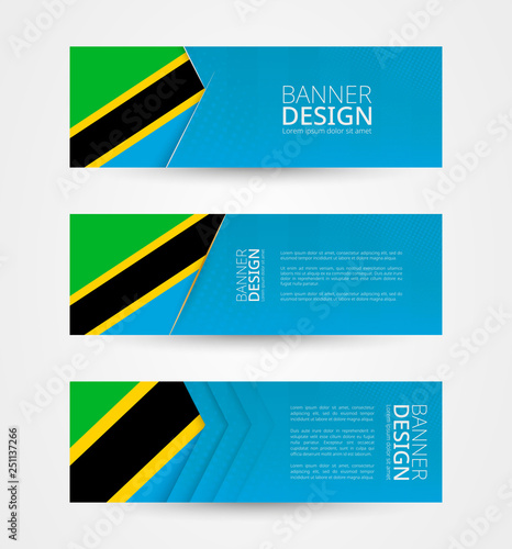 Set of three horizontal banners with flag of Tanzania  Web banner