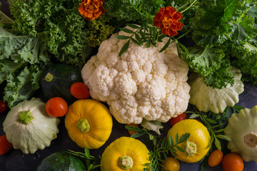 Beautiful picture of vegetables. squash, cauliflower, cherry tomatoes and broccoli .Natural texture of vegetables.