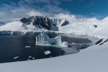 Harbour with iceberg in antarctica