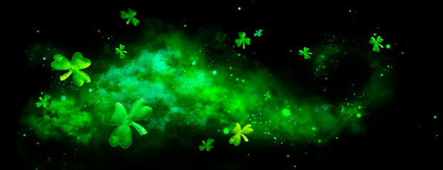 St. Patrick's Day green blurred background with shamrock leaves. Patrick Day. Abstract border art design. Magic clover nature backdrop