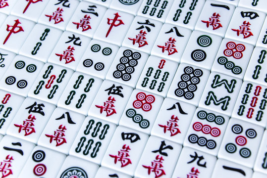 HARBIN, CHINA - DEC 30, 2018: Mahjong is the ancient asian board game.