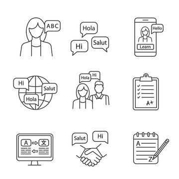 Foreign language learning linear icons set