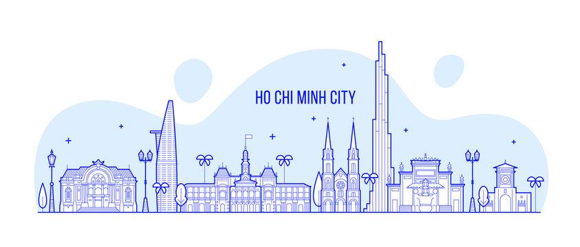 Ho Chi Minh skyline Vietnam city buildings vector