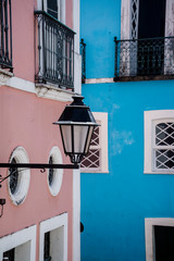 Colourful detail of houses in Pelourinho in the historic centre, Salvador, Bahia, Brazil