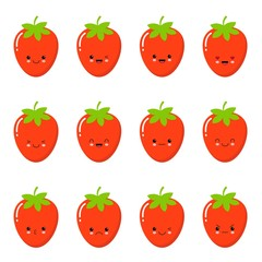 Set strawberry emotions face. Set strawberry smileys. Strawberries with Kawaii face on a white background.