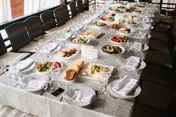 Salty dishes prepared for the event on a white table.