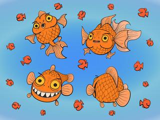 set of hand drawn goldfish.