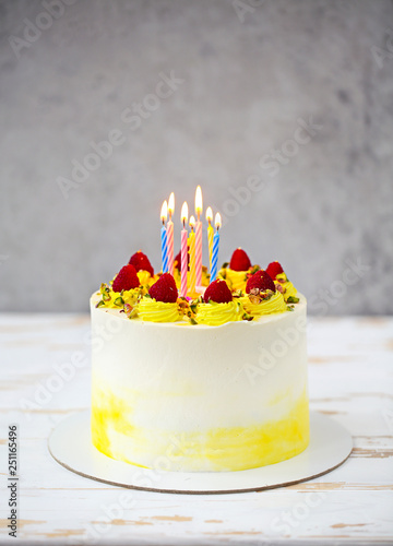 Beautiful Happy Birthday Cake With Mascarpone Decorated Raspberry Pistachio And Candles On The