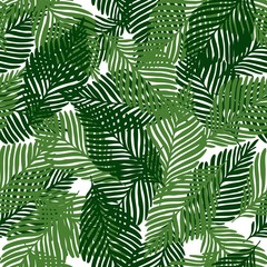 Spoed Fotobehang Tropische Bladeren Cute floral seamless pattern tropical leaves, Fashion, interior, wrapping consept.