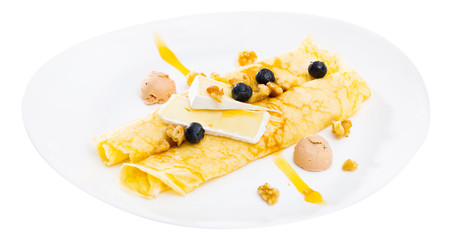 Pancakes with cheese Brie, blueberry and fuagra