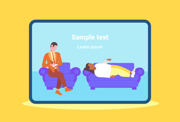 male doctor writing medical prescription for woman patient lying on couch at home healthcare medicine concept flat full length horizontal copy space