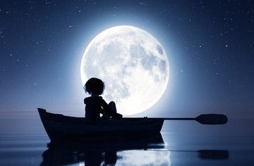 Girl on row boat on the sea under the moonlight,3d rendering