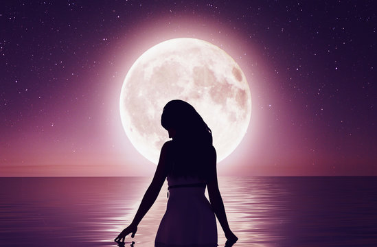 Girl walking on the water under the moonlight,3d rendering
