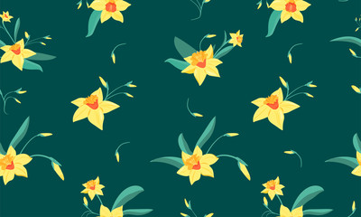 Seamless pattern of  small narcissus flowers with green leaves. Spring flowers print. Vector illustration for textile, postcard, wrapping paper, poster, background, book, t-shirt.