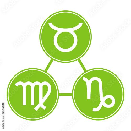 Virgo element zodiac sign. Capricorn taurus icons vector