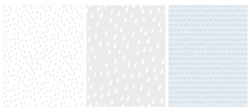 Set of 3 Cute Abstract Geometric Vector Patterns. White, Gray and Blue Color Design. Brushed Raindrops on a White and Light Grey. Irregular White Waves on a Light Blue Background.