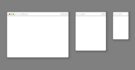 Browser mockups. Website different devices web window mobile screen internet flat template empty page network row set