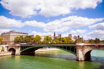 Bridge Pont Notre-Dame in Paris downtown, France